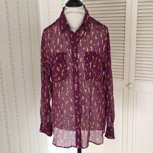Equipment animal print sheer silk blouse, size M